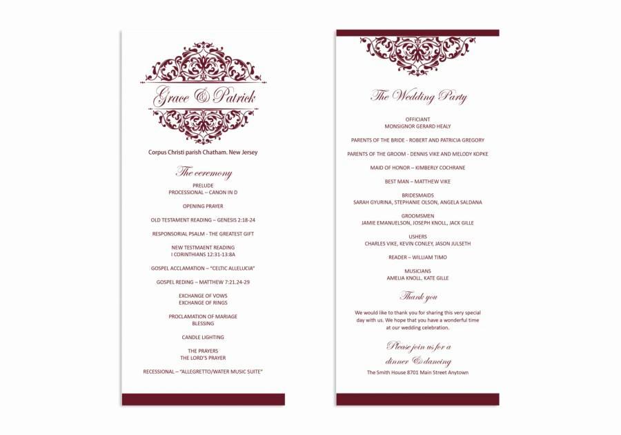 Free Wedding Program Templates Word Elegant Wedding Program Template Printable Wedding Program