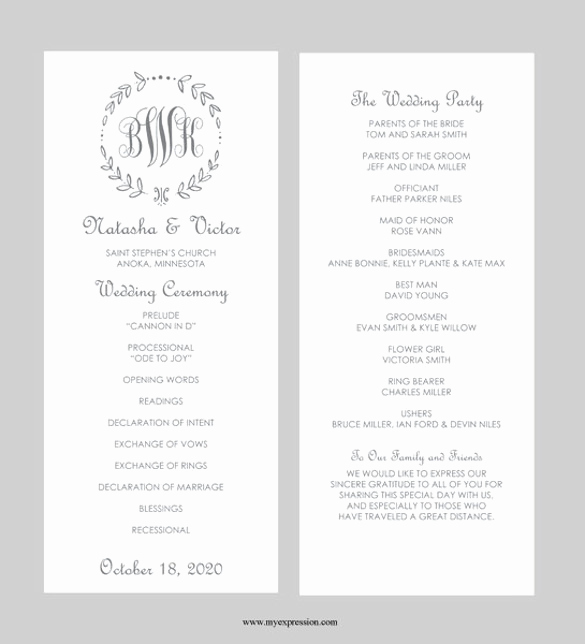 Free Wedding Program Templates Word Lovely 43 Wedding Templates Word