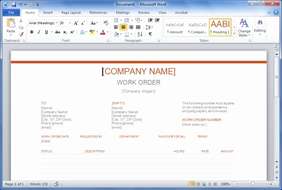 Free Work order Template Awesome Free Work order Template for Word