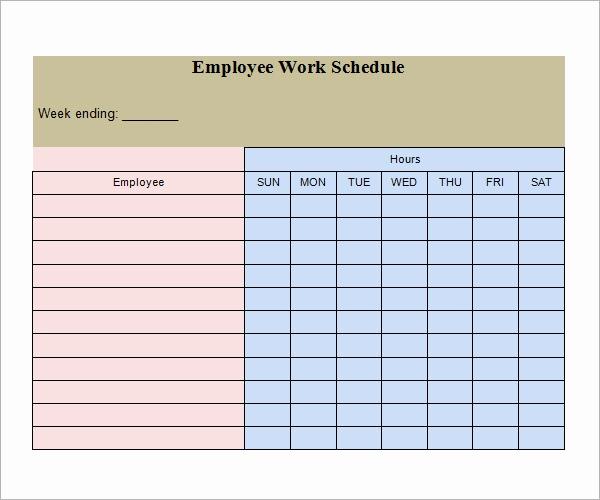 Free Work Schedule Template Elegant Work Schedule Template 15 Download Free Documents In