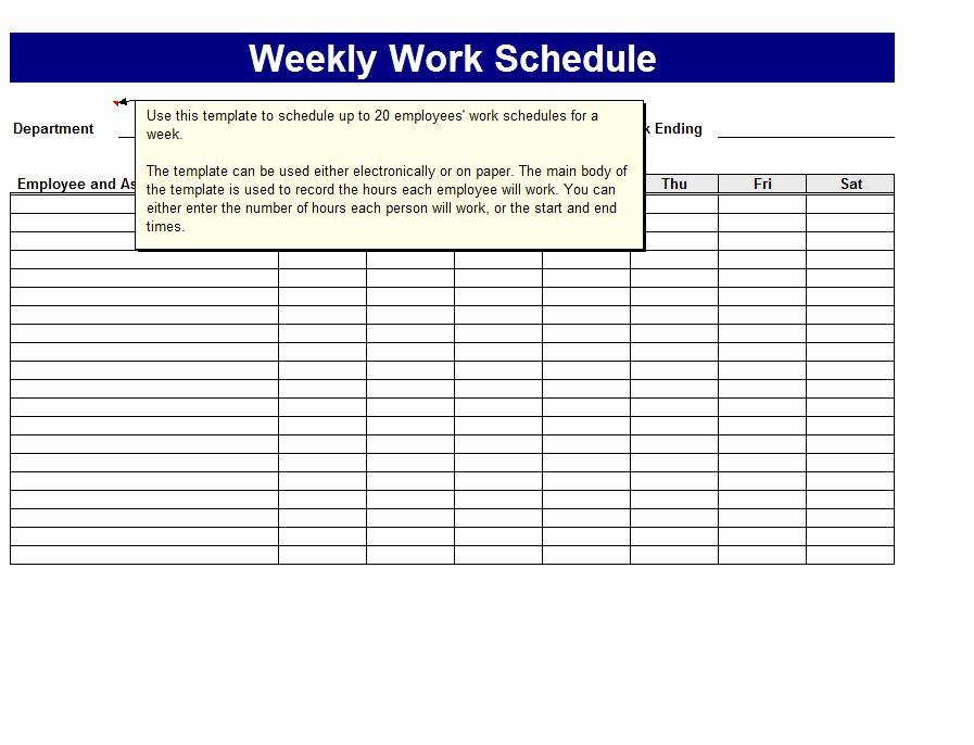 Free Work Schedule Template Fresh Weekly Work Schedule Template