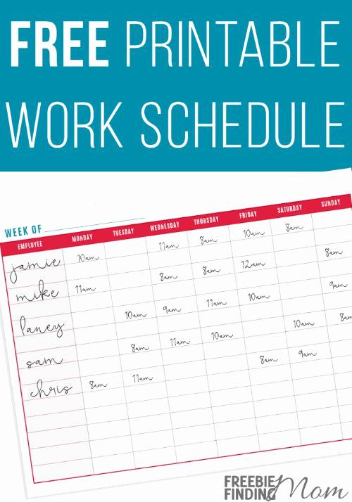 Free Work Schedule Template Luxury Free Printable Work Schedule