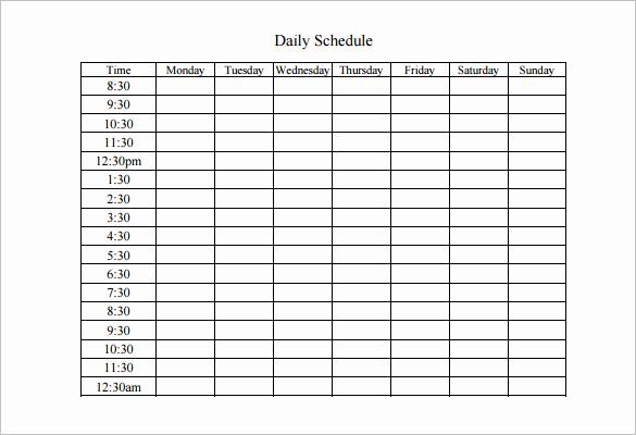 Free Work Schedule Template New Weekly Work Schedule Template 8 Free Word Excel Pdf