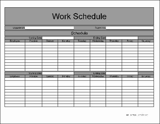 Free Work Schedule Template Unique Free Basic Biweekly Work Schedule From formville