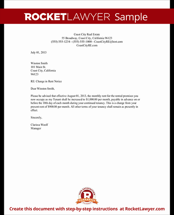 Friendly Rent Increase Letter Lovely Rent Increase Letter Template