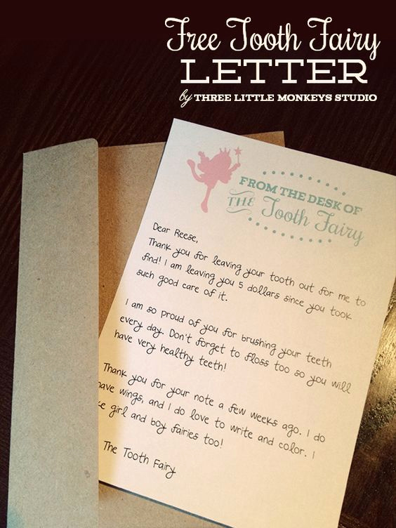 From the Desk Of Template New Free tooth Fairy Letter by Three Little Monkeys Studio