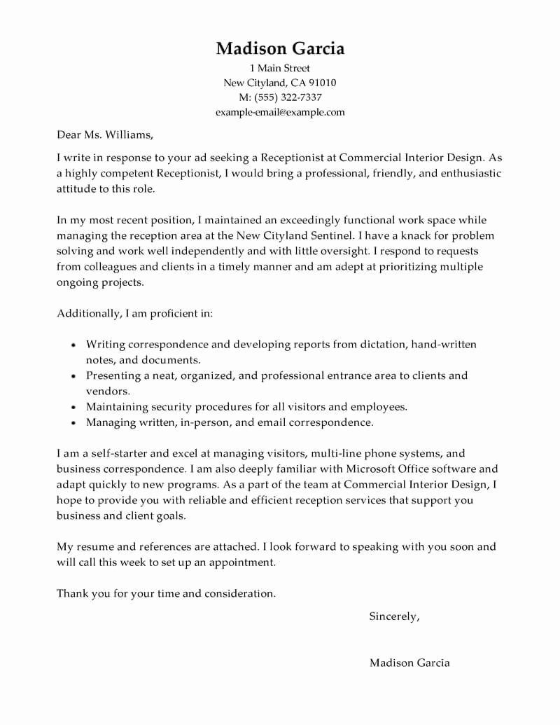 Front Desk Cover Letter Best Of Best Receptionist Cover Letter Examples