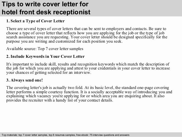 Front Desk Cover Letter Best Of Hotel Front Desk Receptionist Cover Letter