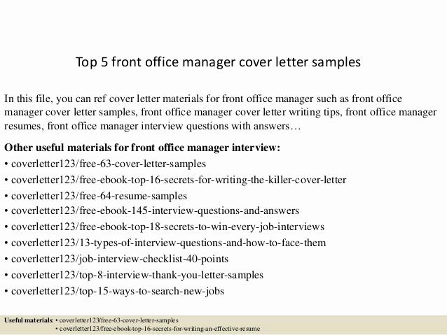 Front Desk Cover Letter Best Of top 5 Front Office Manager Cover Letter Samples