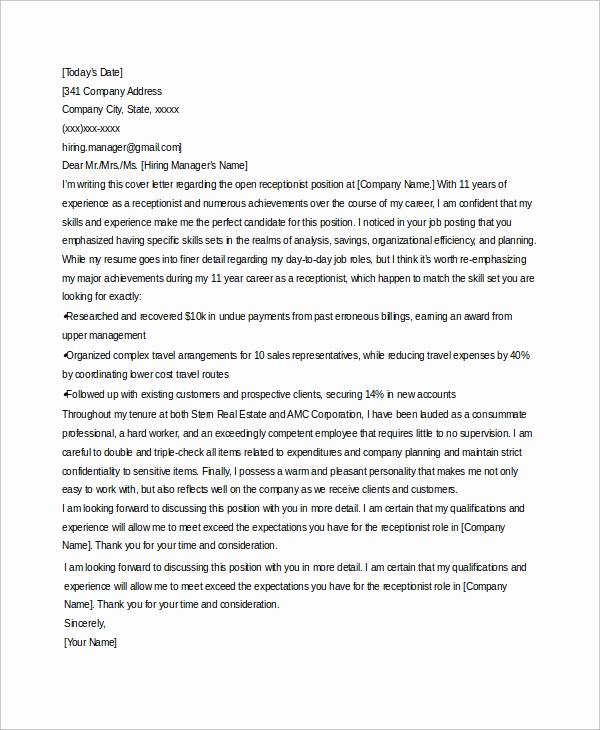 Front Desk Cover Letter Lovely Sample Receptionist Cover Letter 7 Examples In Word Pdf