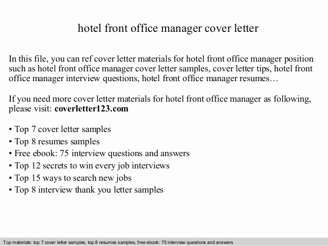 Front Desk Cover Letter Luxury Hotel Front Office Manager Cover Letter