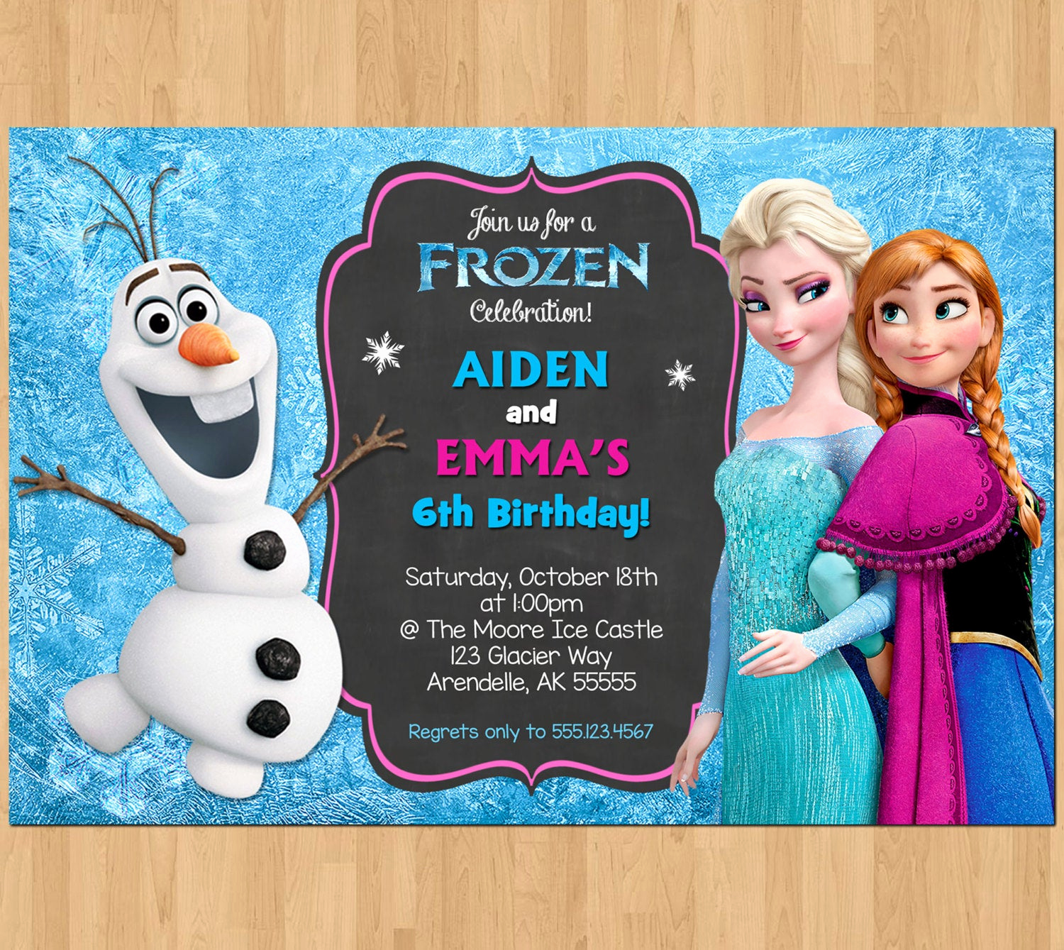 Frozen Bday Party Invitations Awesome Sibling Birthday Invitation Frozen Invitation Olaf Elsa Anna