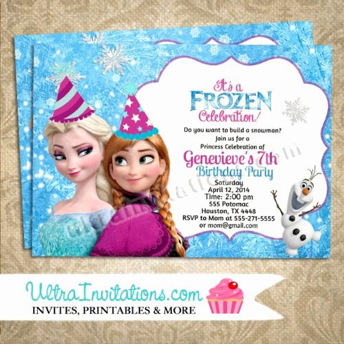 Frozen Bday Party Invitations Elegant Disney Frozen Birthday Invitations Party Custom