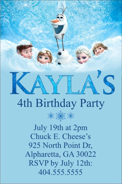 Frozen Bday Party Invitations Inspirational Frozen Movie Invitation Personalized Party Invites