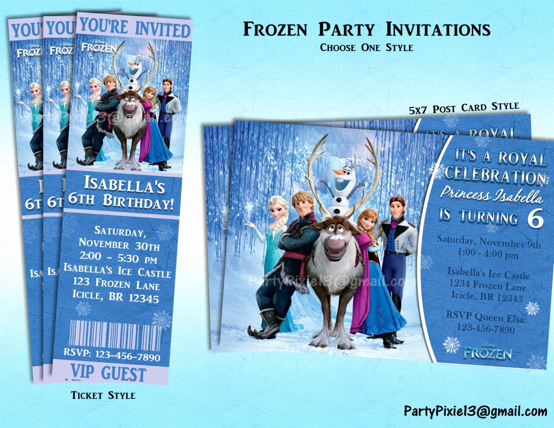 Frozen Bday Party Invitations Luxury Disney Frozen Party Invitations Ticket or 5x7 Style