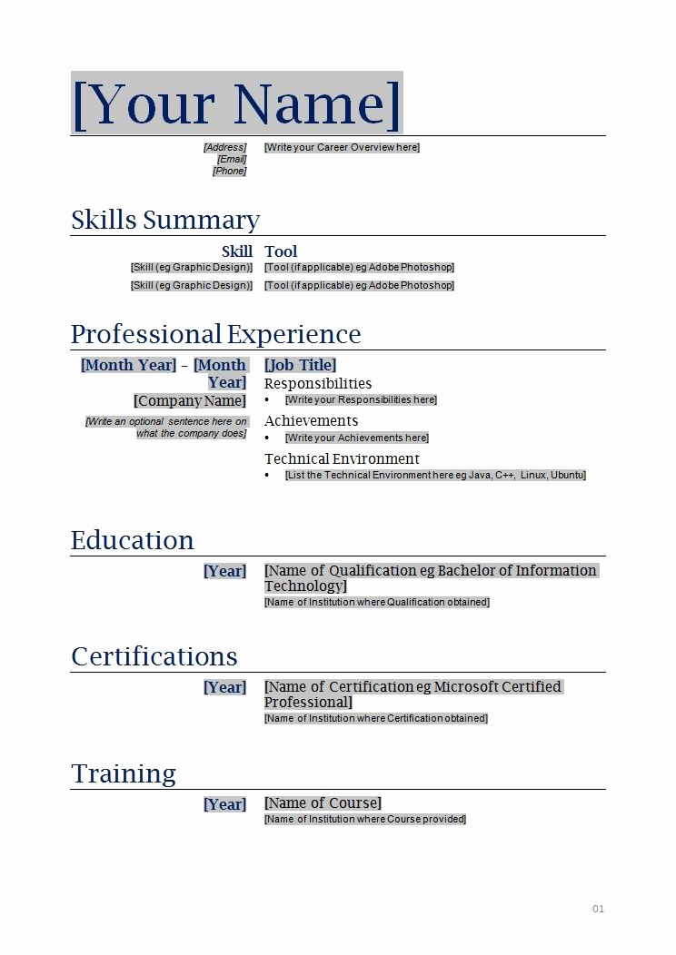 Functional Resume Template Word Awesome Free Blanks Resumes Templates