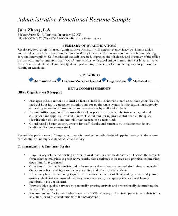 Functional Resume Template Word Elegant 10 Executive Administrative assistant Resume Templates