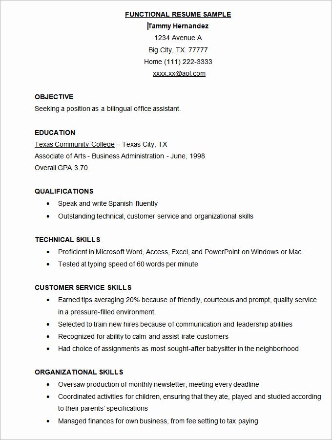 Functional Resume Template Word Luxury Microsoft Word Resume Template 49 Free Samples