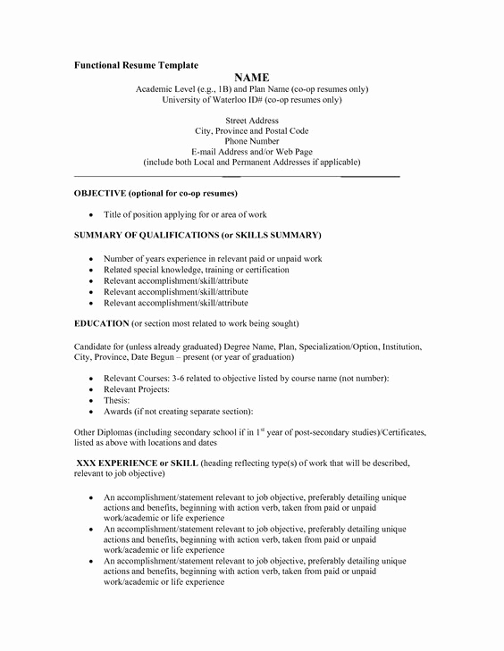 Functional Resume Template Word Unique Functional Resume Template Word Umecareer