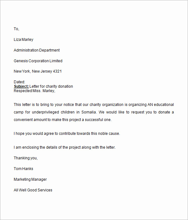 Fund Raising Letter Templates Lovely Donation Request Letter 8 Free Download for Word