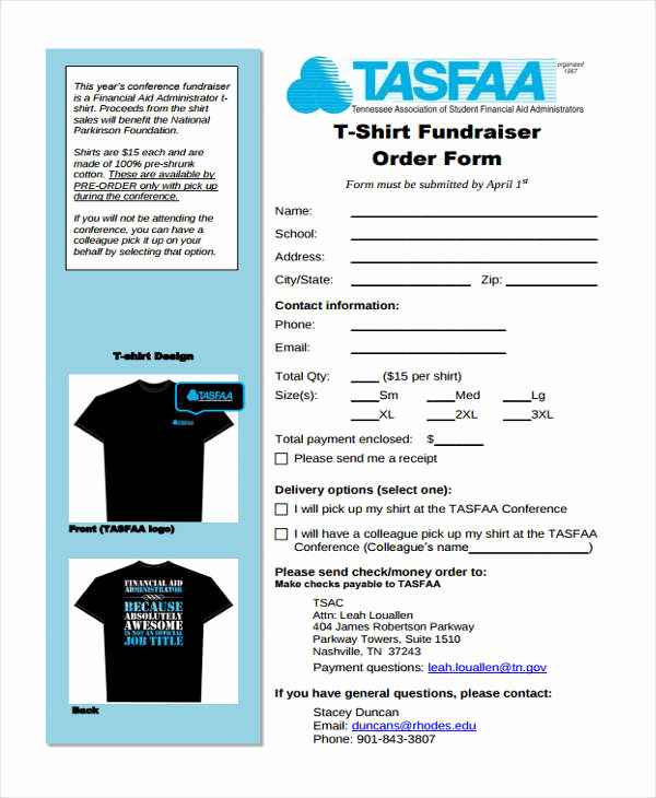 Fundraising order form Templates Fresh 8 Fundraiser order forms Free Sample Example format