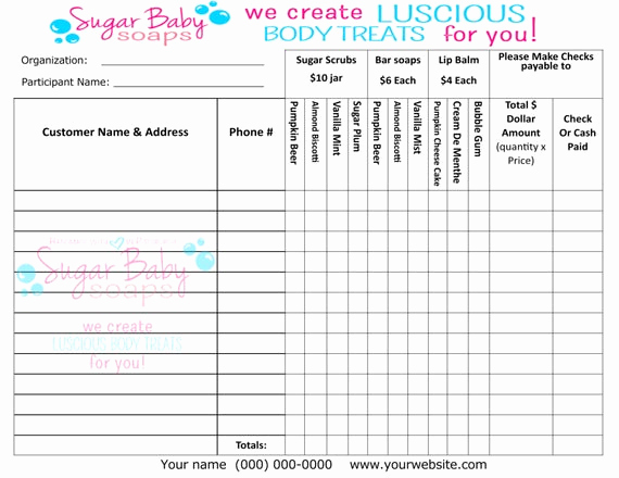 Fundraising order form Templates Fresh Customized Fundraiser order formdigital File Onlycustomize