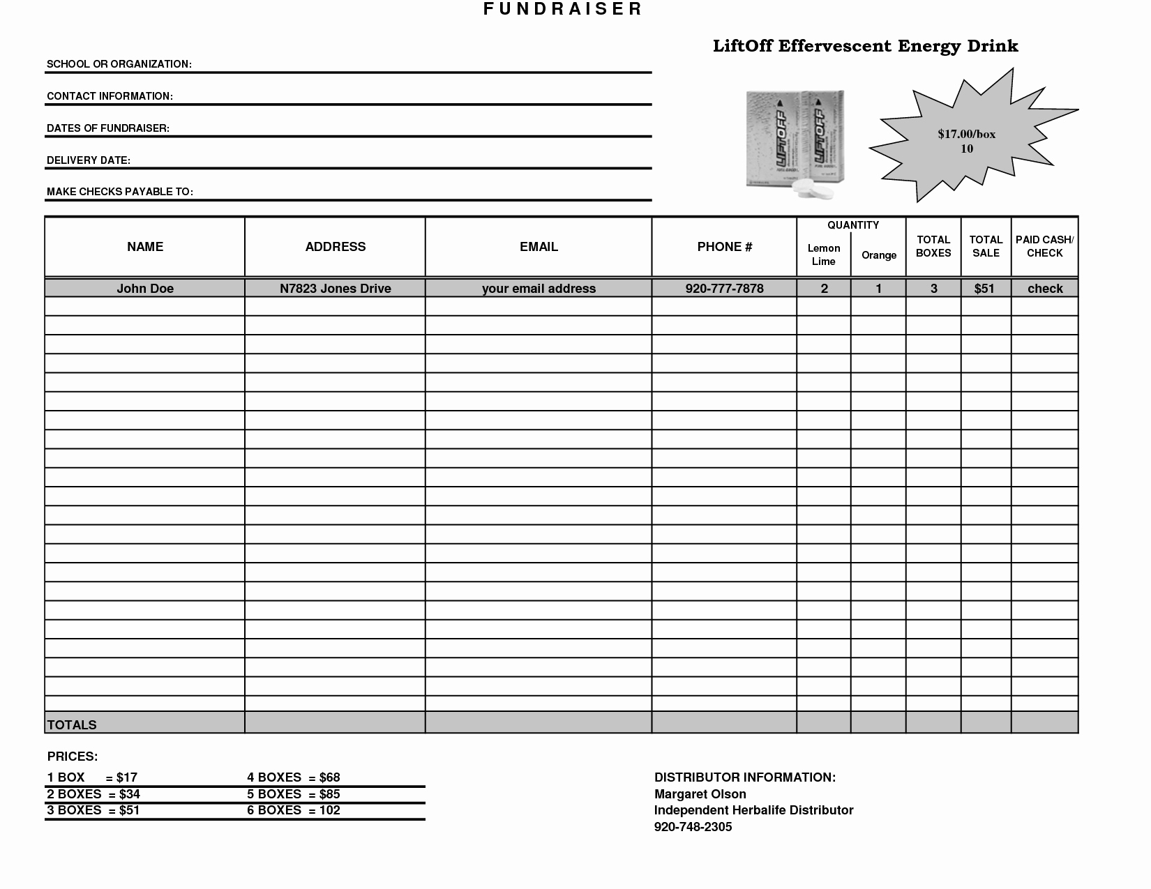 Fundraising order form Templates Lovely Fundraiser Template Excel Fundraiser order form Template