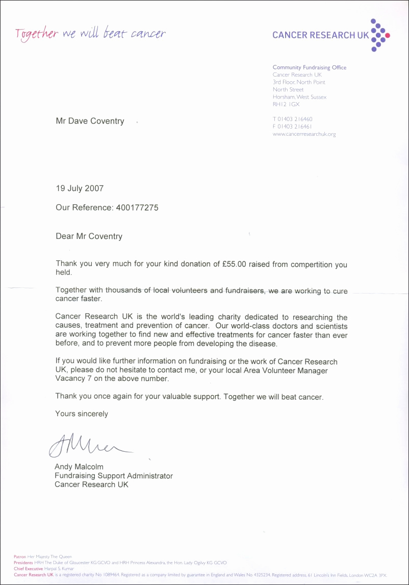 Fundraising Thank You Letter Beautiful atf Charity Fundraising 2007 8 Thank You Letters the