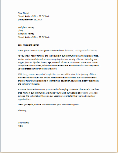 Fundraising Thank You Letter Beautiful Fundraising Thank You Letter Template