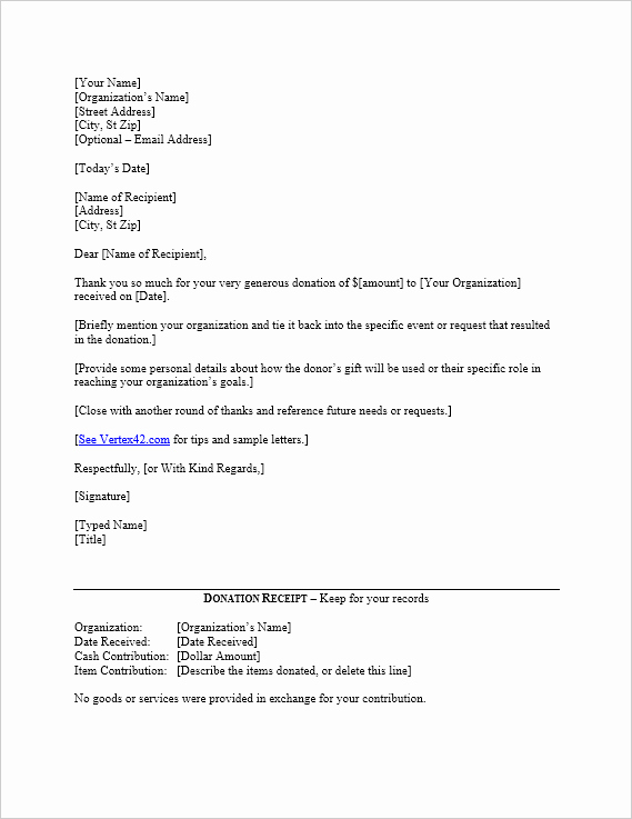 Fundraising Thank You Letter Fresh Free Donation Thank You Letter Template