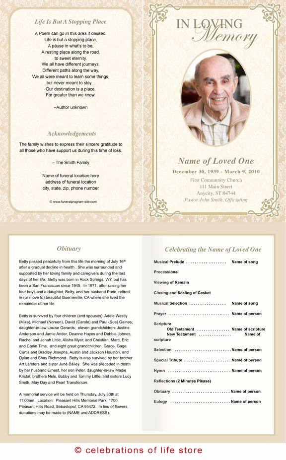 Funeral Program Template Free Awesome Alexandria Printable Funeral Program Template