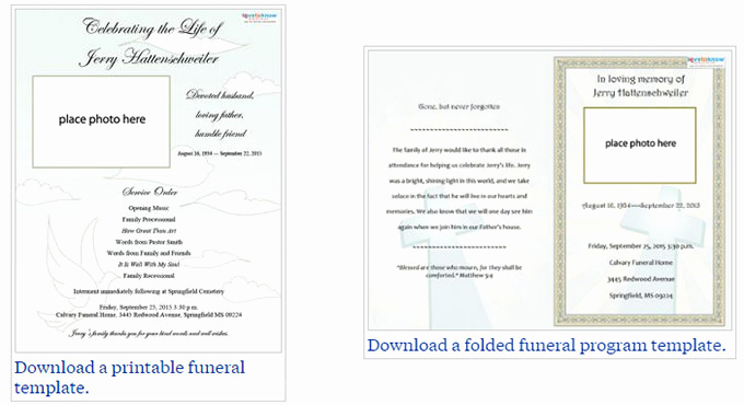 Funeral Program Template Free Awesome Free Editable Funeral Program Template