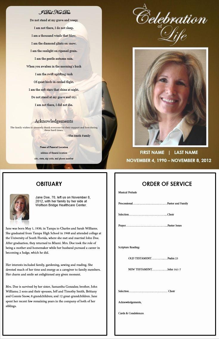Funeral Program Template Free Beautiful Memorial Folder Templates Free Templates Resume