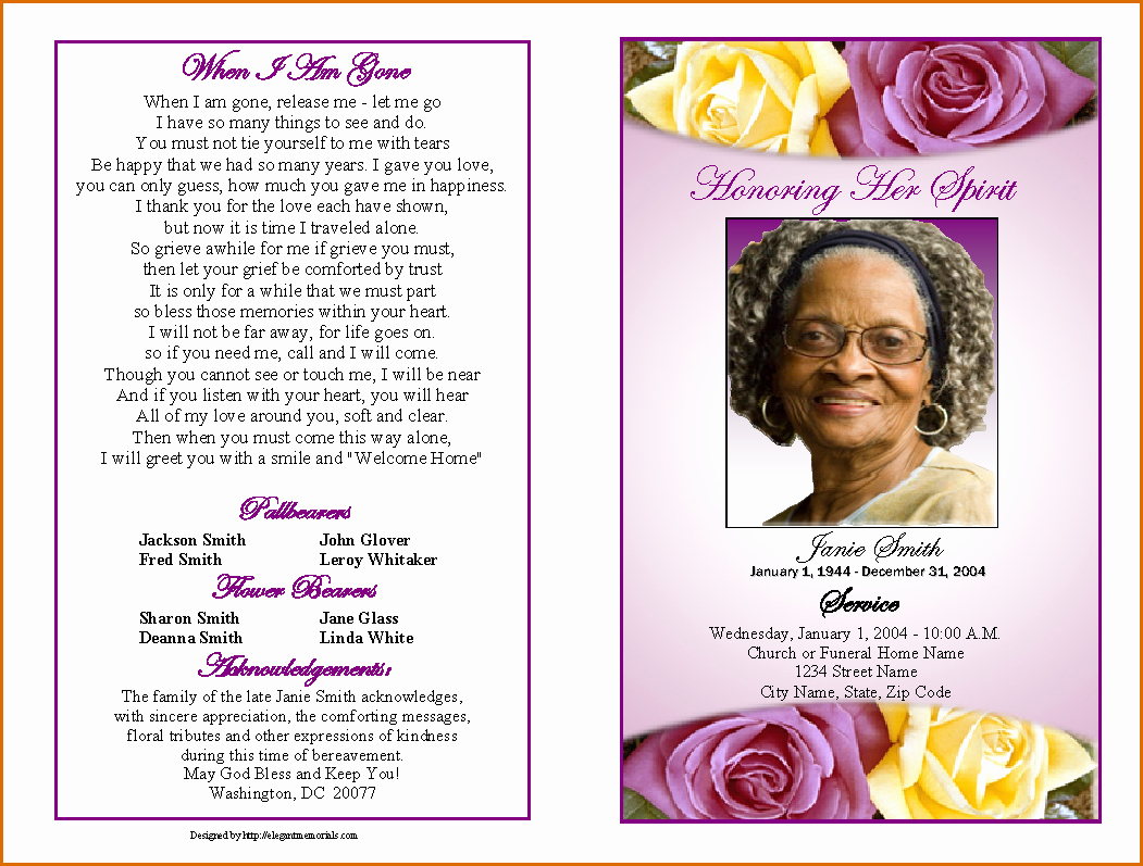 Funeral Program Template Free Best Of 12 Free Printable Funeral Program Template
