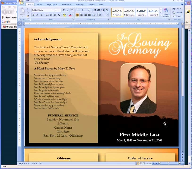 Funeral Program Template Free Elegant Free Funeral Program Templates