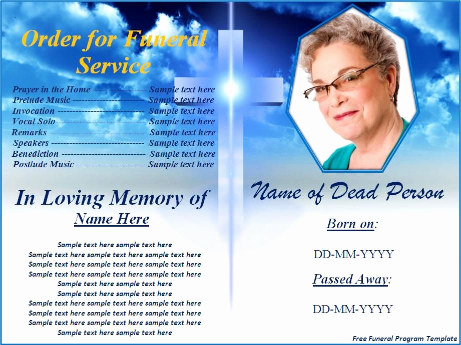 Funeral Program Template Free Luxury Free Funeral Program Templates