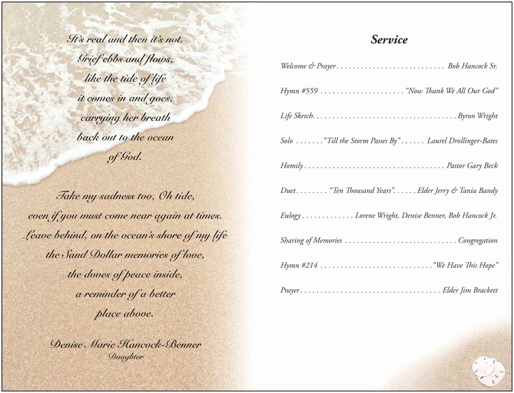 Funeral Service Program Template Fresh Memorial Service Programs Sample