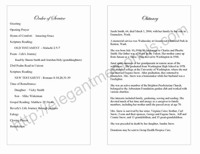 Funeral Service Program Template Lovely Memorial Service Program Sample