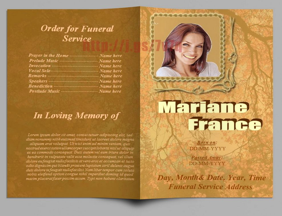 Funeral Service Program Template Luxury Branch Trees theme Funeral Program Template