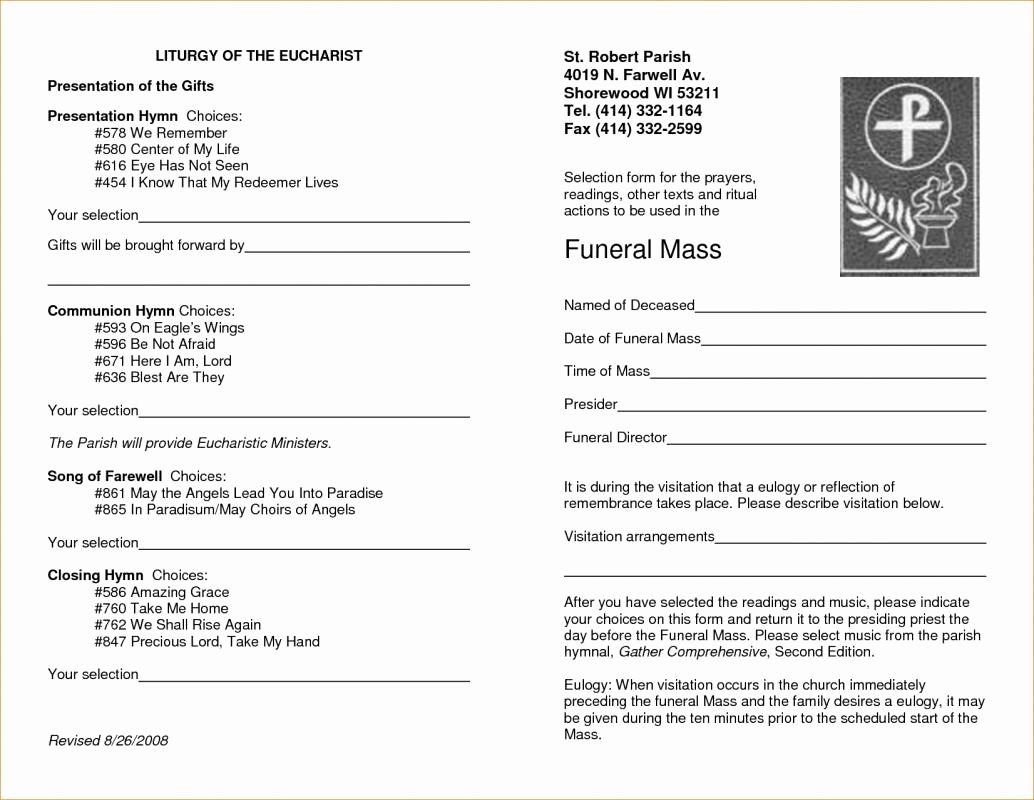 Funeral Service Program Template New Free Memorial Service Program Template