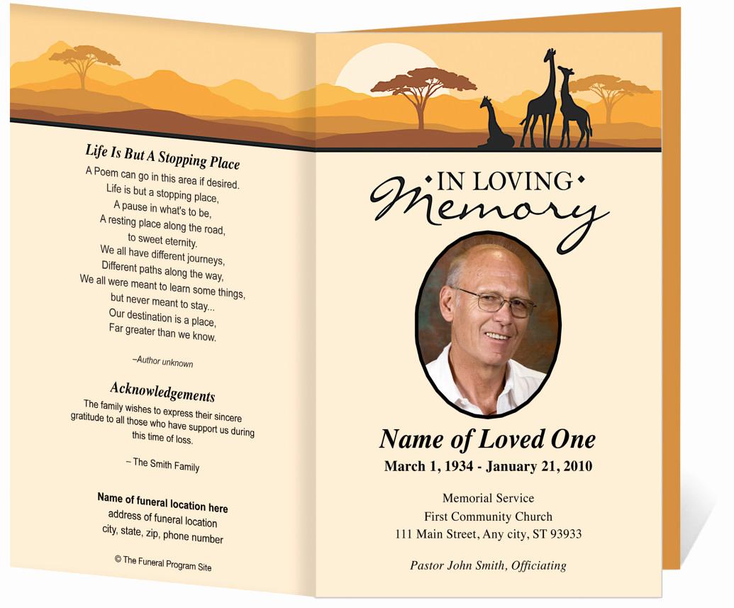 Funeral Service Program Template Unique Free Funeral Program Template