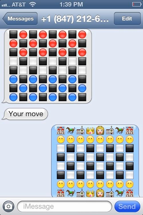 Funny Emoji Texts to Copy New How to Play Chess Checkers Via Imessage [image]