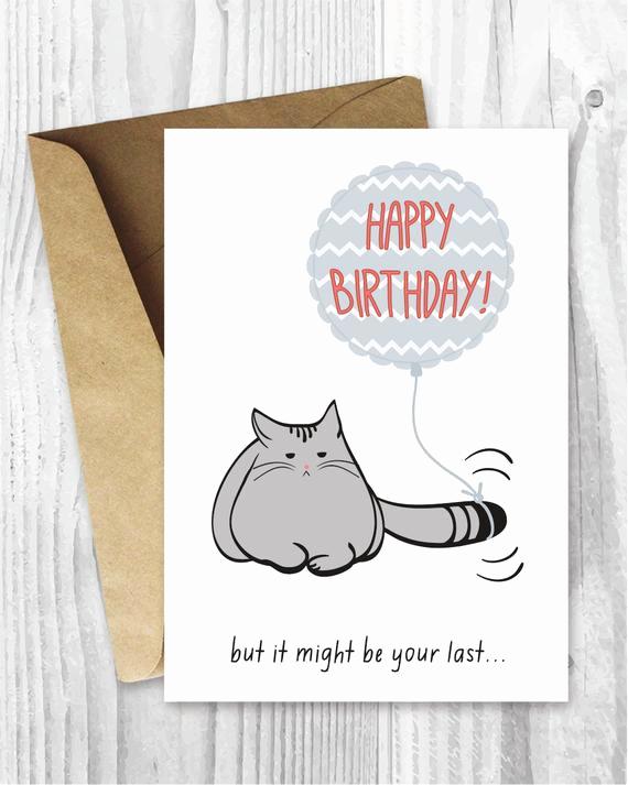 Funny Printable Birthday Cards Lovely Birthday Card Printable Birthday Card Funny Cat Birthday