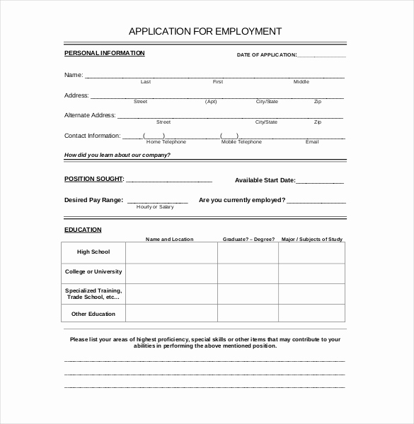 General Application for Employment Awesome 15 Employment Application Templates – Free Sample