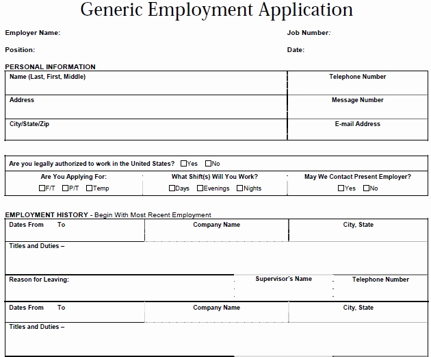General Application for Employment Awesome Job Application Letter Example