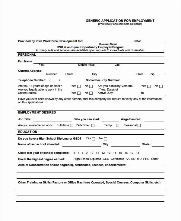 General Application for Employment Beautiful 8 Sample Job Application forms