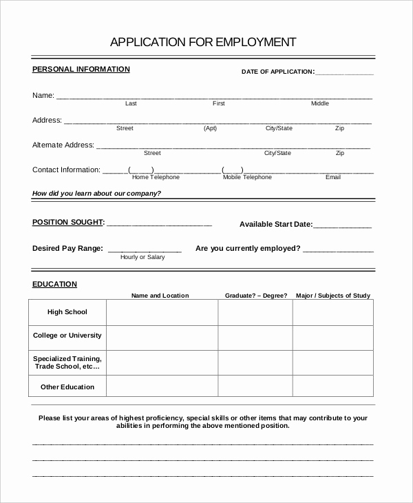 General Application for Employment Elegant Generic Job Application 8 Free Word Pdf Documents