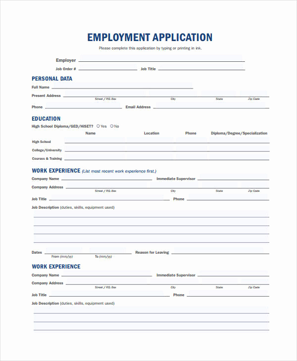 General Application for Employment Fresh Generic Employment Application Template 8 Free Pdf