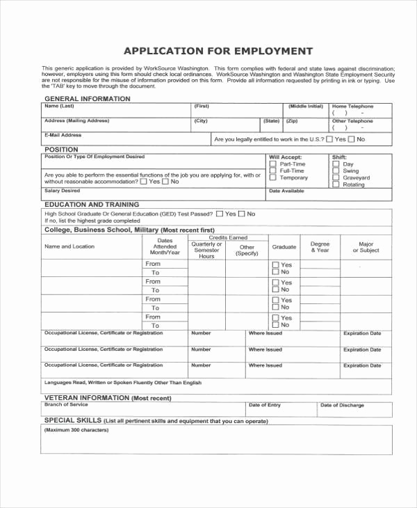 General Application for Employment Luxury Application forms Example