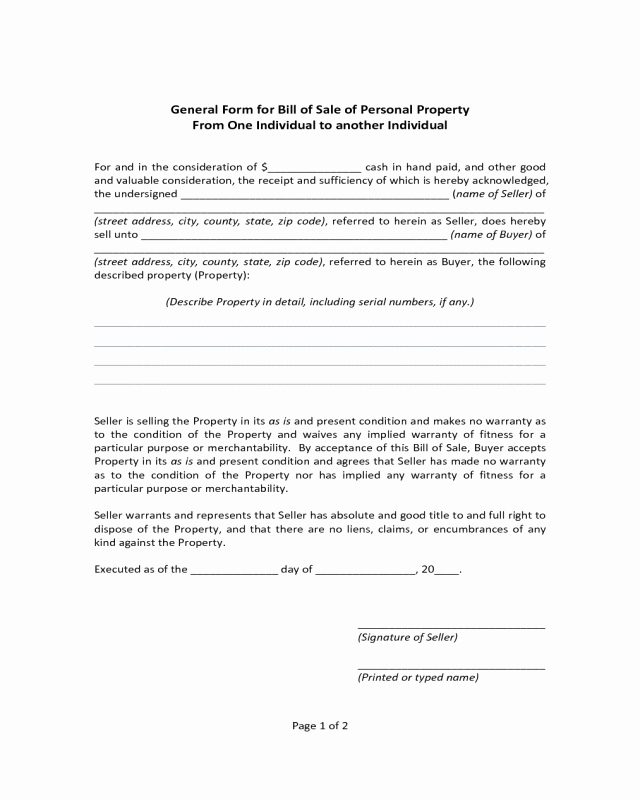 General Bill Of Sale Pdf Awesome General form for Bill Of Sale Of Personal Property
